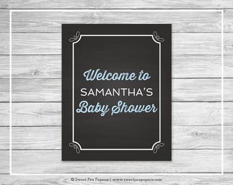Chalkboard Baby Shower Welcome Sign - Printable Baby Shower Welcome Sign - Blue Chalkboard Baby Shower - Welcome Sign - EDITABLE - SP156