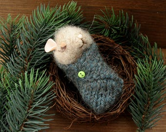 Mouse in the nest with a needle felting