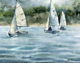 Fine art print. Sailing boats on Textured Fine Art Paper