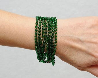 Green bracelet Boho bracelet Summer Jewelry Beach bracelet Crochet bracelet Wrap bracelet Boho Jewelry Beaded bracelet womens gift for her
