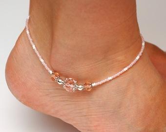 Women ankle bracelet Sparkle jewelry Tender rose anklet shine jewelry Wedding jewelry Vacation jewelry Beaded Anklet Foot bracelet for her
