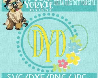 Flower Circle Monogram - SVG/DXF/PNG/JPeg -wedding, newlyweds, marriage, kids  - Cricut, Studio Cutable file