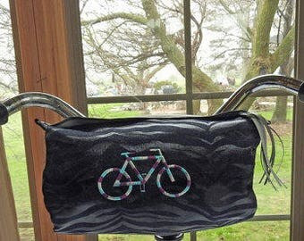 Denim Handlebar Bike Bag / Crossbody Bag / Designer Denim / Reflective Tape and Tassel