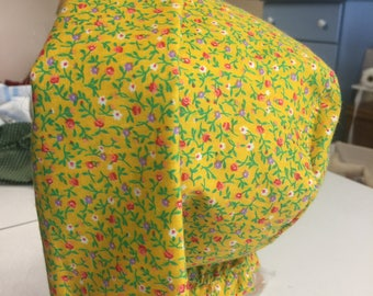 Child's SMALL 3-4 Bright Yellow Floral Pioneer Sun Bonnet Prairie Colonial Hat