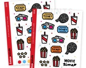 20% OFF Z039 | MOVIE Time Deco Collection Stickers Perfect for Erin Condren Life Planner, Filofax, Plum Paper, scrapbooking