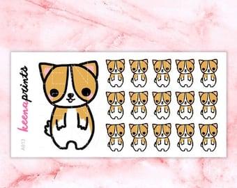 15% OFF A913 | Corgi stickers - Keenachi Repositionable Stickers Perfect for Erin Condren Life Planner, Filofax, Plum Paper
