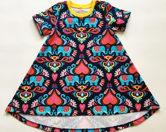 Toddler dress, 18 to 24 months-Twirly, Girls dresses, Elephant print, Navy dress, Hearts, In stock, Short sleeve, Toddler clothing, Scandi