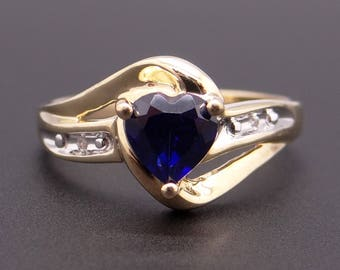 Adorable 10k Yellow Gold Heart Shaped Synthetic Sapphire Diamond Ring Size 7