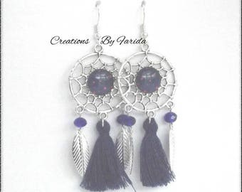 "Earrings ""Dreamcatcher"" Midnight Blue cabochon, tassel and leaf"