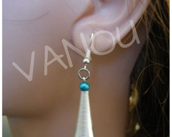 Earrings with spiral and TURQUOISE Pearl