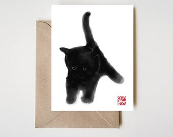 Sweet Black Kitty Card, Sumi-e Painting Illustration Asian Cat Kitten Zen Art Cute Summer Ink Drawing Dog Lover