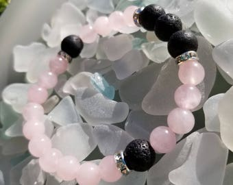 Lava and Rose Quartz with Crystal Essential oil bracelet - Lava beads - Healing stone beads - Rose Quartz - Aromatherapy - Diffuser
