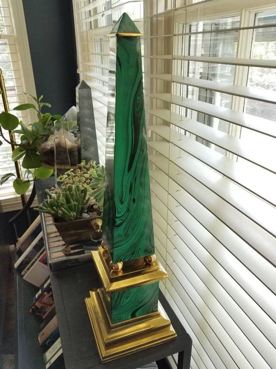Brass and faux malachite obelisk // enamel on brass // large obelisk // 1980s // imperial obelisk