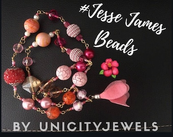 Jesse James beads necklace, super cute and girly long necklace! Pink treasure collection, island tropical girl fashion