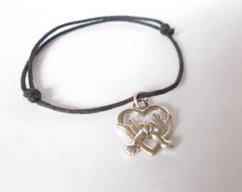 Sliding cotton waxed black bracelet, heart charm, silver metal swallows