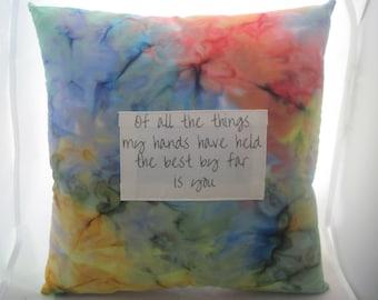 girlfriend gift pillow, watercolor art pillow, watercolor painting pillow, words on pillows, sayings on pillows, best friend gift