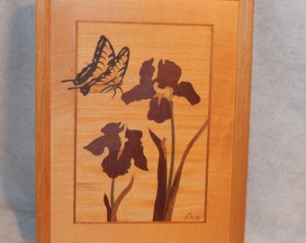 """Signed Jeff Nelson Hudson River Inlay Wood Marquetry Picture BUTTERFLY & IRIS 12"""" ~ LE Free Shipping!"""