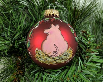 Pig Ornament, Pink Piggy, Christmas Pig Ornament, Red Ornament, Cute Pig Ornament, Free Inscription, Pig Collector Gift