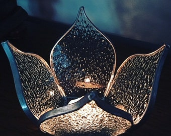 Lotus Flower Stained Glass Candle Holder