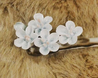 Flower hair stick chinese hair stick bun maker hand painted porcelain hair stick blue flower hair maker wedding hair accessary crystal hair