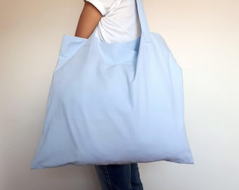 Gorgeous Large Beach Bag in Sky Blue; Lightweight Cotton Beach Bag; Baby Blue Tote; Large Shopper; Market Bag