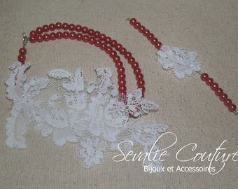 Necklace beads and lace red and white wedding