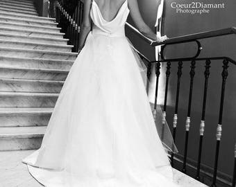 Ivory wedding gown thin strap