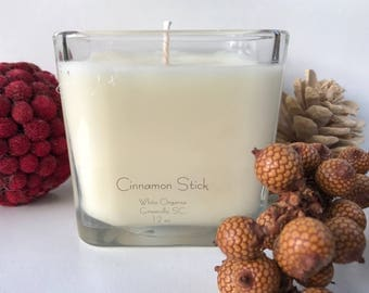 Cinnamon Stick, Christmas, Holiday, 100% All Natural Soybean Candle, 12 oz., Eco Friendly, Clean Burning, No Color or Dyes, MADE IN USA