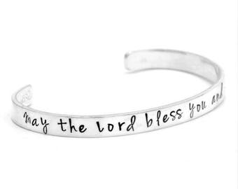 May the Lord Bless You and Keep You Numbers 6:24 Sterling Silver Hand-Stamped Bible Verse Cuff Bracelet