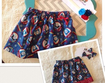 Thomas the Tank Engine skirt, Thomas birthday outfit, Thomas and friends skirt, girls skirt, baby skirt, toddler skirt, Thomas skirt and bow