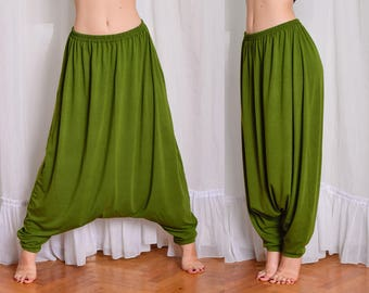 Harem Pants. Oversized Drop Crotch Pants. Japanese style, Plus size Loose pants. Baggy, Hippie Pants. Thin or thick fabric.