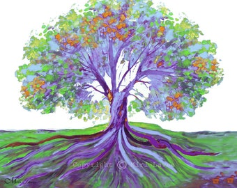 Tree Paintings, Painting Landscape, Modern Painting, Purple Painting Original Artwork, Large Painting, Landscape Tree, Purple Wall Art