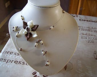 Necklace bridal wedding holiday party satin, Ivory Pearl flower / bridesmaid witness ceremony chocolate brown