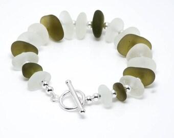 Sea Glass Bracelet - Genuine Sea Glass Jewelry   Seaglass Jewellery   Beach Wedding   Ocean Bracelet   Sterling Silver Seaglass Bracelet