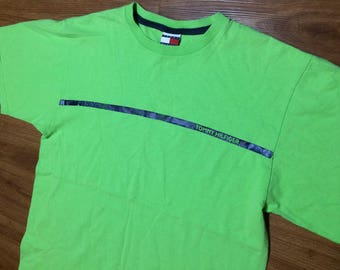 Tommy Hilfiger t shirt mens xl 90s fashion neon lime green