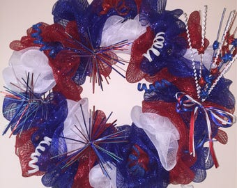 Red, White and Blue (4th of July) Wreath