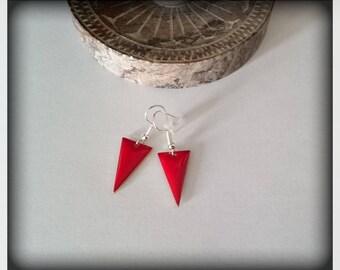 Red enamel triangle earrings