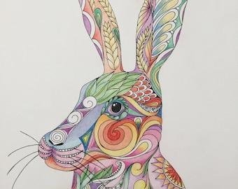 Zentangle rabbit, colored rabbit,rabbit art,colored zentangle,zentangle art,ink colored pencils,wall art,wall decor