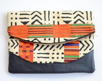 Fold Over Clutch - African Print Clutch - Black Clutch - Oversized Clutch - Zipper Clutch - Clutch Bag - Mudcloth Print - Printed Clutch