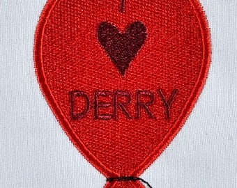 I heart Derry Balloon Machine Embroidery Design 4x4