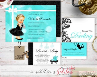 Breakfast at Tiffany's Baby Shower Invitation Bundle - Tiffany Baby Shower, Diaper Raffle, Books Request, Thank You Card B5 DIGITAL FILE