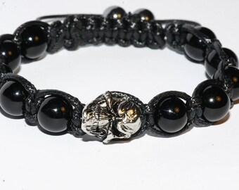 Agate gem stone skull bracelet