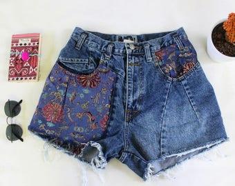 Vintage High Waisted Denim Jean Shorts - Cut Offs - Destroyed Jeans - Short Shorts - Distressed Denim Shorts - Festival Short