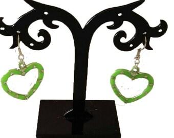 green acrylic heart earrings