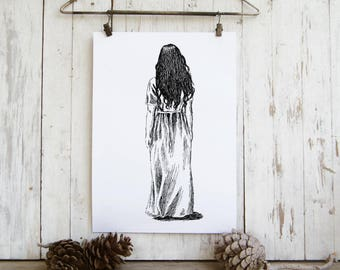 Spiritual art, White dress,Black and white illustration, Spiritual wall art, Hipster room decor, Christmas gift