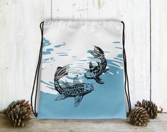 Drawstring bag For Woman, Koi Fish Backpack, Bag Drawstring, Hipster Gift, Blue White Bag, Drawstring Backpack, Nautical Bag, Gift Under 30