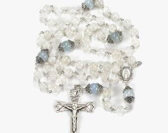 Aquamarine Rainbow Moonstone Catholic Women's Rosary - Marcasite Silver, Miraculous Medal, Ornate Crucifix - Handmade Heirloom Rosaries
