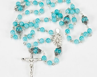 Delicate Amazonite Rosary - Handmade gift for Catholic Women or Children with Sterling Silver and ornate center - Custom, Heirloom Rosaries