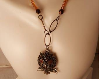 Bronze owl necklace  (NK049)
