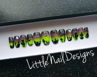 Hand Painted Graveyard Cemetery Skeleton Halloween False Nails | Little Nail Designs